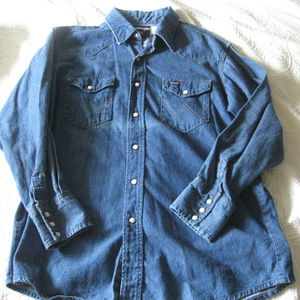 WRANGLER BLUE DENIM SNAP BUTTONS  TALL MAN 16.5x37